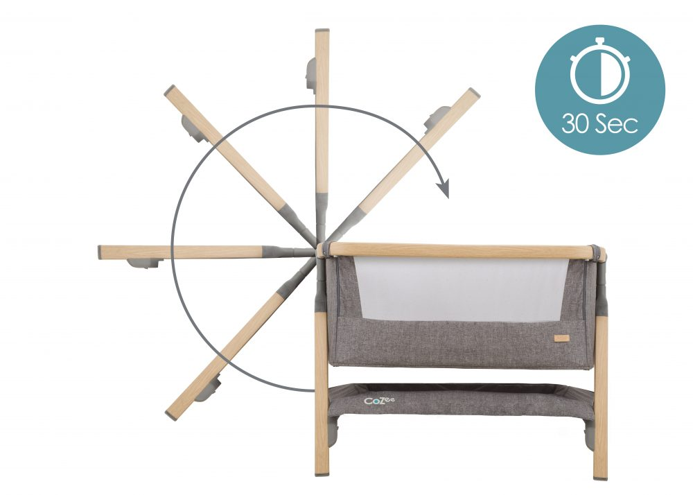 Tutti Bambini Cozee Bedside Crib 30 second open and fold mechanism
