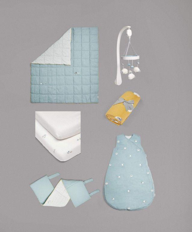 Blue cot bedding set
