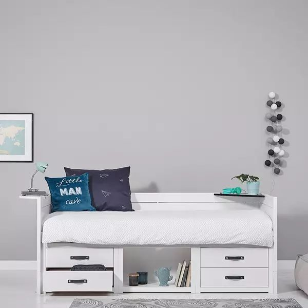 A white Low Sleeper Bed with storage